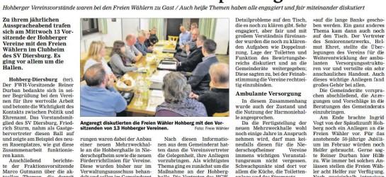 Hohberger Vereinsvorstände bei den Freien Wähler