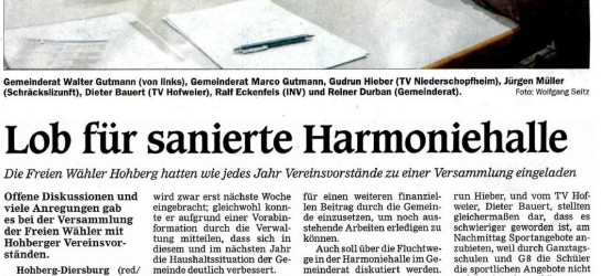 Lob für sanierte Harmoniehalle