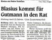 Blasius kommt für Gutmann in den Rat
