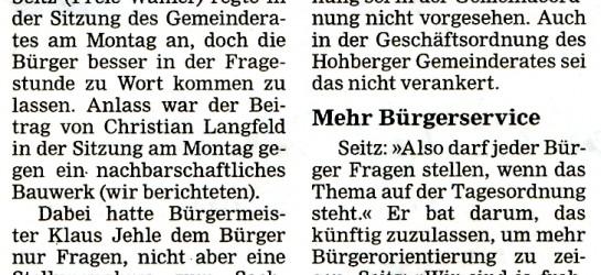 Wolfgang Seitz: Bürger sollen fragen können