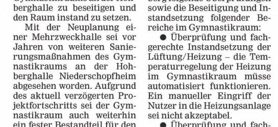 Gymnastikraum Hohberghalle wieder auf Vordermann bringen
